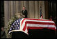 Former President George H.W. Bush eulogizes former President Gerald R. Ford during his State Funeral at the National Cathedral in Washington, D.C., January 2, 2007. White House photo by Eric Draper