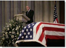 President George W. Bush delivers the eulogy for former President Gerald R. Ford during the State Funeral service at the National Cathedral in Washington, D.C., Tuesday, Jan. 2, 2007.  White House photo by Eric Draper
