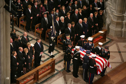 The Casket Of Former President Gerald R Ford Is Carried