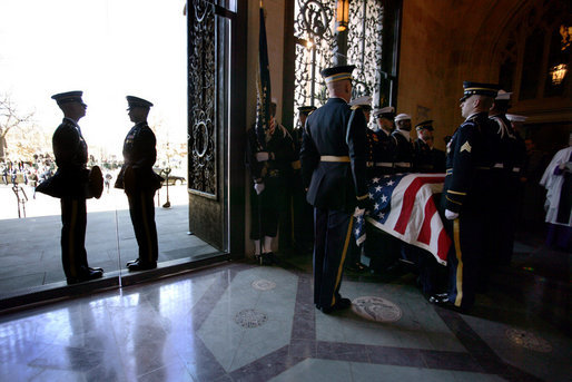 Military pallbearers prepare to carry the casket of former President Gerald R. Ford into the nave of the National Cathedral for the former president's State Funeral service in Washington, D.C., Tuesday, January 2, 2007. White House photo by David Bohrer