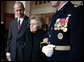 Former first lady Betty Ford is escorted by her son Steve Ford and Major General Guy Swan III following the State Funeral service for former President Gerald R. Ford at the National Cathedral in Washington, D.C., Tuesday, January 2, 2007. White House photo by David Bohrer
