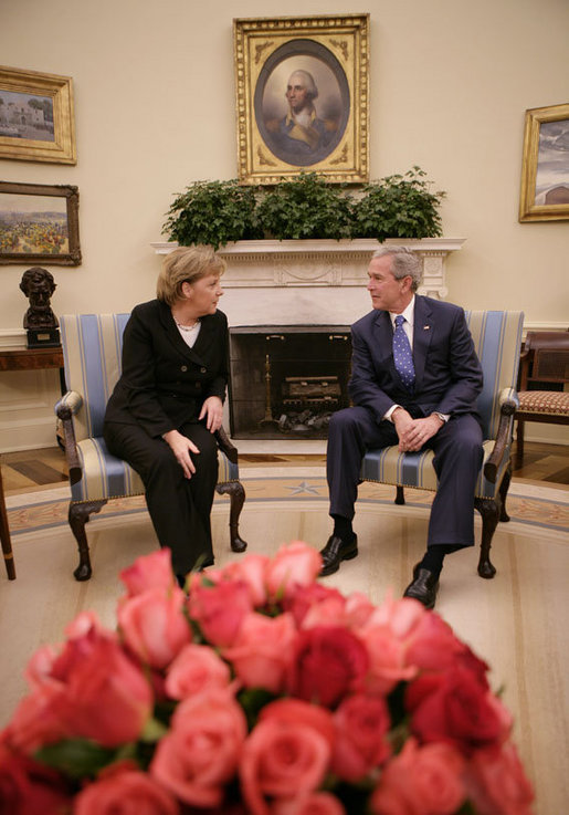 President George W. Bush meets with German Chancellor Angela Merkel in the Oval Office, Thursday, Jan. 4, 2006, at the White House. White House photo by Eric Draper