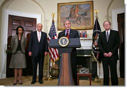 President George W. Bush nominates John Negroponte as Deputy Secretary of State, left, and Vice Admiral Mike McConnell as Director of National Intelligence during an announcement in the Roosevelt Room Friday, Jan. 5, 2007. Secretary of State Condoleezza Rice is pictured at left. White House photo by Paul Morse