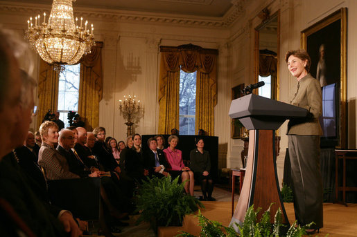 Mrs. Laura Bush addresses her remarks at the 2006 National Awards for Museum and Library Service ceremony Monday, January 8, 2006, in the East Room of the White House, honoring three libraries and three museums from around the nation for their outstanding contributions to public service. White House photo by Shealah Craighead