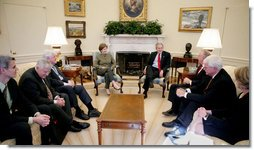 President George W. Bush and Mrs. Laura Bush meet with bicameral and bipartisan members of Congress, Senator Edward M. Kennedy of Massachusetts, left; Senator Mike Enzi of Wyoming, left-center; Congressman Buck McKeon of California, right-front; Congressman George Miller of California, right-center, and U.S. Secretary of Education Margaret Spellings, right, in the Oval Office, Monday, Jan. 8, 2007, marking the fifth anniversary of No Child Left Behind.  White House photo by Paul Morse