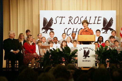 Mrs. Laura Bush addresses the students, faculty and invited guests during her visit to the St. Rosalie School, Tuesday, Jan. 9, 2007, in Harvey, Louisiana, where Mrs. Bush toured the school's rebuilding progress following Hurricane Katrina, including the school's newly re-opened and renovated library. White House photo by Shealah Craighead