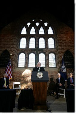 Vice President Dick Cheney addresses a joint session of the Virginia General Assembly at the Memorial Church at Historic Jamestown in Jamestown, Va., to mark the beginning of an 18-month series of events celebrating the 400th anniversary of Jamestown, Wednesday, January 10, 2007. The Jamestown Memorial Church is located on the site where, just twelve years after the first settlers arrived to the New World, representative government began in America with the establishment of the House of Burgesses, the first legislative body in the New World and precursor to today's Virginia House of Delegates. White House photo by David Bohrer