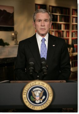 President George W. Bush concludes his address to the nation Wednesday evening, Jan. 10, 2007, from the White House Library, where President Bush outlined a new strategy on Iraq. White House photo by Eric Draper
