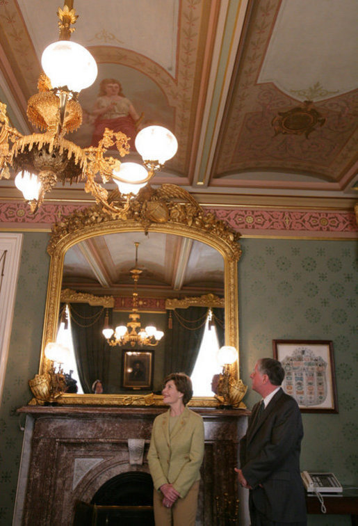 Mrs. Laura Bush is joined by Richard C. Cote, curator, U.S. Department of the Treasury, as she views the completed restoration of the Salmon P. Chase suite in the U.S. Treasury Building, Thursday, Jan. 11, 2007, in Washington, D.C., part of a tour showing the first major restoration at the U.S. Treasury Building, a National Historic Landmark. White House photo by Shealah Craighead