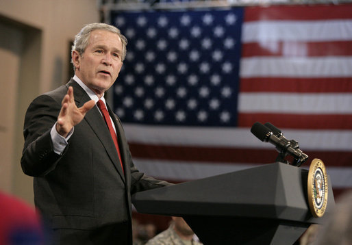 President George W. Bush gestures as he addresses the troops and their families at Fort Benning, Ga., Thursday, Jan. 11, 2007, talking about the new strategy for Iraq. White House photo by Eric Draper