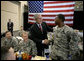 President George W. Bush meets with the troops and their families during his visit to Fort Benning, Ga., Thursday, Jan. 11, 2007. White House photo by Eric Draper