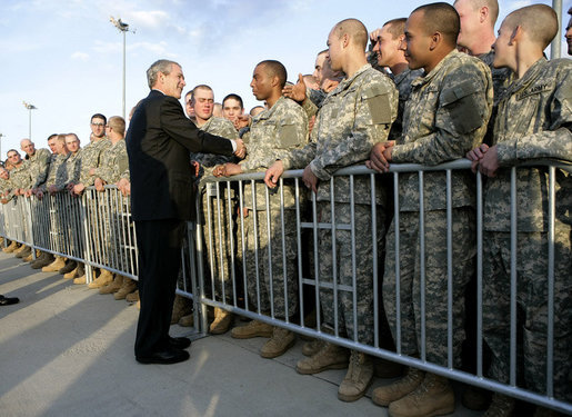 President George W. Bush shakes hands with U.S. Army soldiers as he prepares to depart Fort Benning, Ga., Thursday, Jan. 11, 2007. White House photo by Eric Draper