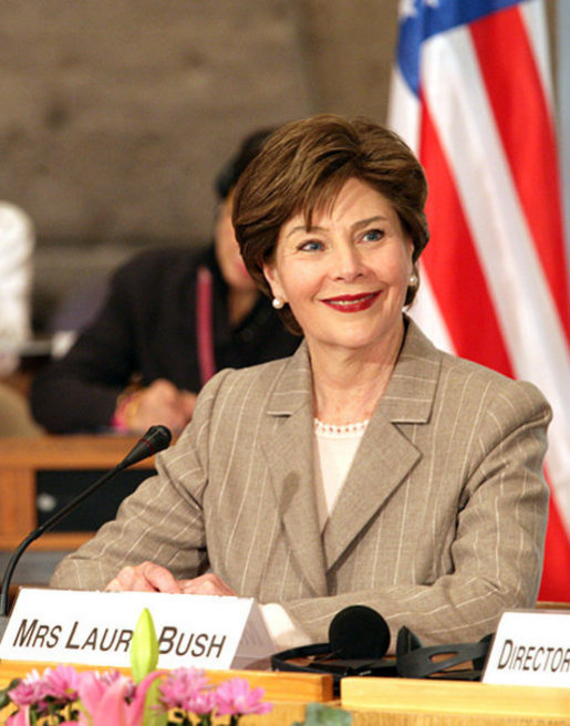 Mrs. Laura Bush, who serves as an Honorary Ambassador to the United Nations Decade of Literacy, participates in an UNESCO roundtable discussion in Paris Monday, Jan. 15, 2007. Following the White House Conference on Global Literacy held in September 2006, UNESCO is hosting upcoming regional literacy conferences in Qatar, Costa Rica, Azerbaijan and Asia. White House photo by Shealah Craighead