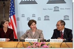 Mrs. Laura Bush, who serves as an Honorary Ambassador to the United Nations Decade of Literacy, addresses UNESCO participants during a roundtable discussion while visiting Paris Monday, Jan. 15, 2007. Following the White House Conference on Global Literacy held in September 2006, UNESCO is hosting upcoming regional literacy conferences in Qatar, Costa Rica, Azerbaijan and Asia. White House photo by Shealah Craighead