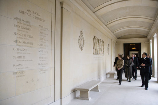 Mrs. Laura Bush tours Memorial Chapel at the Suresnes American Cemetery near Paris Tuesday, Jan. 16, 2007. The cemetery is the resting place for American troops who died while serving in World War I and World War II. White House photo by Shealah Craighead