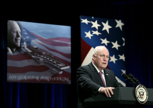 "Vice President Dick Cheney delivers remarks at the naming ceremony for the new U.S. Navy aircraft carrier, USS Gerald R. Ford, at the Pentagon in Washington, D.C., Tuesday, Jan. 16, 2007. ""If the purpose of naming an aircraft carrier is to convey the confident spirit of our military, and the good and just causes that America serves in the world, then we have certainly accomplished that purpose here today,"" said the Vice President. ""The name Gerald R. Ford belonged to a man who gave a lifetime of devoted service to our country, reflecting honor on the United States Navy, on the House of Representatives, on the Vice Presidency, and on the Presidency."" White House photo by Paul Morse"