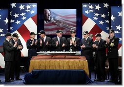Vice President Dick Cheney, second left, is joined by government officials and family members of former President Gerald R. Ford in applause during a naming ceremony for the new U.S. Navy aircraft carrier, USS Gerald R. Ford, at the Pentagon in Washington, D.C., Tuesday, Jan. 16, 2007. The nuclear-powered aircraft carrier will be the first in the new Gerald R. Ford class of aircraft carriers in the U.S. Navy. Pictured from left to right are Secretary of the Navy Donald Winter, Vice President Dick Cheney, Susan Ford Bales, Steve Ford, Jack Ford, Michael Ford, Senator John Warner, R-Va., Senator Carl Levin D-Mich., and Chief of Naval Operations, Admiral Mike Mullen.  White House photo by Paul Morse