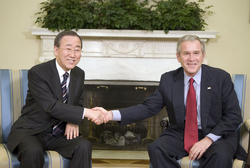 "President George W. Bush and U.N. Secretary-General Ban Ki-Moon meet with the press in the Oval Office Tuesday, Jan. 16, 2007. ""Thank you for your willingness to serve. Thank you for this very important discussion we just had,"" said President Bush. ""I appreciate so very much how you opened up the discussion with a strong commitment to democracy and freedom. And the United States is willing -- wants to work with the United Nations to achieve a peace through the spread of freedom."" White House photo by Eric Draper"