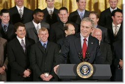 "President George W. Bush talks about the 2006 World Series Champions, The St. Louis Cardinals, in the East Room Tuesday, Jan. 16, 2007. ""They say in baseball in order to become the World Series champ, you can't have losing streaks of over two or three games.,"" said the President. ""This club had losing streaks of -- one eight-game losing streak; another eight-game losing streak; and a seven-game losing streak -- which really speaks to the character of the baseball team, doesn't it?""  White House photo by Paul Morse"