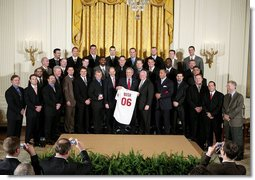 President George W. Bush stands with the 2006 World Series Champions, The St. Louis Cardinals, in the East Room Tuesday, Jan. 16, 2007. White House photo by Paul Morse