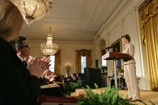 "Mrs. Laura Bush speaks during the Coming Up Taller Award Ceremony in the East Room Monday, Jan. 22, 2007. Each year, the Coming Up Taller Awards recognize and reward excellence in community arts and humanities programs for underserved children and youth. ""Helping young people build the knowledge and the self-confidence they need to lead successful lives is at the heart of President Bush's Helping America's Youth Initiative,"" said Mrs. Bush. White House photo by Shealah Craighead"