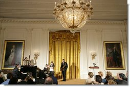 The Junior Jazzers perform during the Coming Up Taller Award Ceremony in the East Room Monday, Jan. 22, 2007. Each year, the Coming Up Taller Awards recognize and reward excellence in community arts and humanities programs for underserved children and youth. White House photo by Shealah Craighead