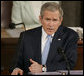 "President George W. Bush emphasizes a point during the State of the Union address Tuesday, January 23, 2007. The President told the nation, ""We're not the first to come here with a government divided and uncertainty in the air. Like many before us, we can work through our differences and achieve big things for the American people."" White House photo by Paul Morse"