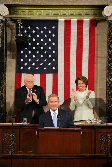 President George W. Bush receives applause while delivering the State of the Union address at the U.S. Capitol, Tuesday, Jan. 23, 2007. Also pictured are Vice President Dick Cheney and Speaker of the House Nancy Pelosi. White House photo by David Bohrer
