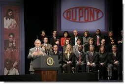 "President George W. Bush talks about his energy initiatives at Hotel Du Pont in Wilmington, Del., Wednesday, Jan. 24, 2007. ""American automobile companies, as well as foreign automobile companies competing for market share here in the United States, understand that's where the consumer mentality is evolving,"" said President Bush. ""And they're beginning to spend their own money, as well as help from the federal government, to develop new batteries. It's going to be an exciting time, really, when you think about it, when you're able to drive the first 20 miles in a plug-in hybrid vehicle without one drop of gasoline, which makes the country less dependent on oil.""  White House photo by Paul Morse"
