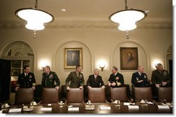 Members of the Joint Chiefs of Staff and Secretary of Defense Robert Gates, center, gather for a meeting with the President George W. Bush in the Cabinet Room at the White House, Wednesday, Jan. 24, 2007, with Joint Chiefs and the Combatant Commanders. From left are, Admiral Michael G. Mullen, Chief of Naval Operations; General Peter J. Schoomaker, Chief of Staff, U.S. Army; General Peter Pace, Chairman, Joint Chiefs of Staff; Admiral Edmund P. Giambastiani, Jr., Vice Chairman, Joint Chiefs of Staff; General Michael T. Mosley, Chief of Staff, U.S. Air Force; and U.S. Marine General James T. Conway, Commandant of the U.S. Marine Corps. White House photo by Eric Draper