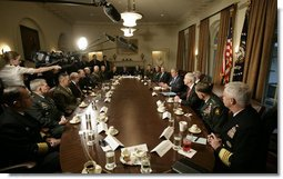 President George W. Bush addresses members of the media prior to meeting with the Joint Chiefs of Staff and Combatant Commanders in the Cabinet Room at the White House, Wednesday, Jan. 24, 2007. White House photo by Eric Draper