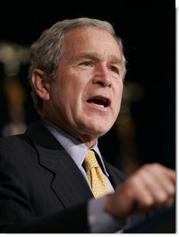 President George W. Bush gestures as he addresses the House Republican Conference, Friday, Jan. 26, 2007 in Cambridge, Md. White House photo by Paul Morse