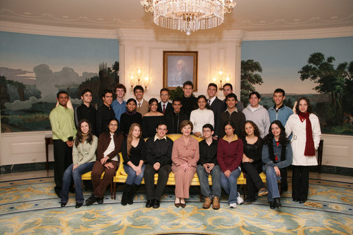 Mrs. Laura Bush meets with a group of Youth Ambassadors from Brazil , Friday, Jan. 26, 2006, during their visit to the White House. The Youth Ambassadors program was initiated by the U.S. Embassy in Brazil, as part of a cultural and educational exchange for students with academic excellence and leadership abilities from Latin America to visit the United States. White House photo by Shealah Craighead