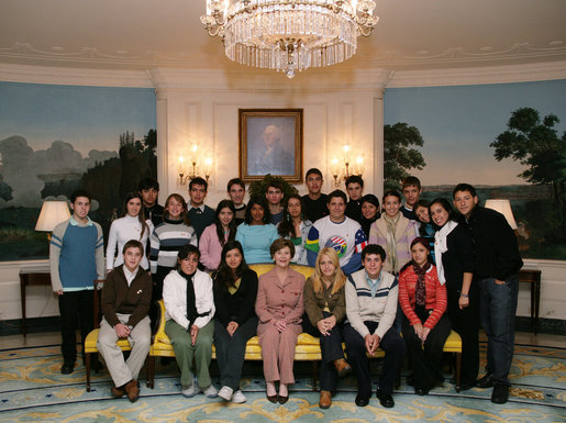 Mrs. Laura Bush poses for a photo with Youth Ambassadors representing Brazil, Chile, Argentina, Uruguay and Paraguay, Friday, Jan. 26, 2006, during their visit to the White House. The Youth Ambassadors program was initiated by the U.S. Embassy in Brazil, as part of a cultural and educational exchange for students with academic excellence and leadership abilities from Latin America to visit the United States. White House photo by Shealah Craighead