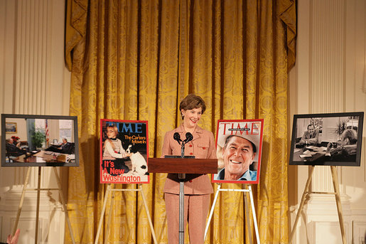 Mrs. Laura Bush speaks at the presentation of the Hugh S. Sidey Scholarship in print journalism in the East Room Friday, Jan. 26, 2007. The scholarship is named for Time Magazine correspondent Hugh Sidey and was presented to Fred Love, a journalism student at Iowa State University. White House photo by Shealah Craighead