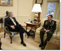 President George W. Bush meets with Army General David Petraeus, incoming Commander of the Multi-National Force-Iraq, Friday, Jan. 26, 2007, in the Oval Office. White House photo by Eric Draper