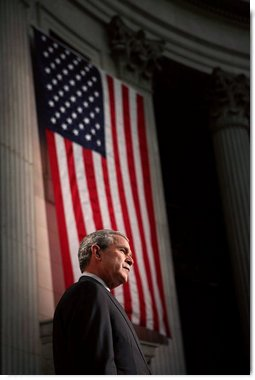 President George W. Bush is introduced by New York Mayor Michael Bloomberg on Wall Street in New York City Wednesday, Jan. 31, 2007.  White House photo by Paul Morse
