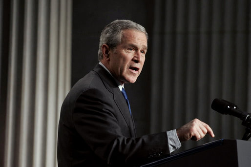 "President George W. Bush delivers remarks on the economy on Wall Street in New York City Wednesday, Jan. 31, 2007. ""When people across the world look at America's economy what they see is low inflation, low unemployment, and the fastest growth of any major industrialized nation,"" said the President. ""The entrepreneurial spirit is alive and well in the United States."" White House photo by Paul Morse"