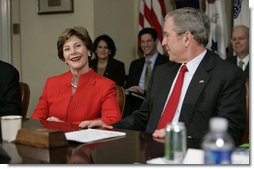Mrs. Laura Bush speaks to executives from the food, beverage and entertainment industries about child fitness during a meeting Thursday, Feb. 1, 2007, in the Roosevelt Room of the White House.  White House photo by Eric Draper