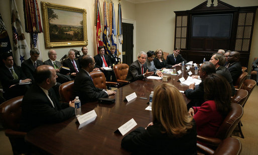 President George W. Bush meets Thursday, Feb. 1, 2007, with executives from the food, beverage and entertainment industries to talk about improving healthy food offerings and encouraging physical fitness in their advertising and marketing campaigns. White House photo by Eric Draper