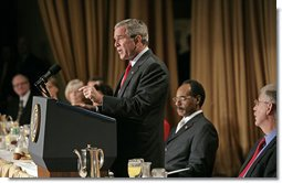 President George W. Bush speaks at the National Prayer Breakfast in Washington, D.C., Thursday, Feb. 1, 2007. Laura Bush, not pictured, also attended the event. White House photo by Eric Draper
