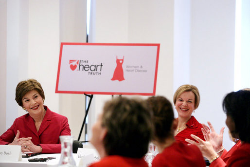 Mrs. Laura Bush and Dr. Elizabeth Nabel, Director of the National Heart, Lung and Blood Institute, participate in a women's heart health roundtable in New York Friday, Feb. 2, 2007, to highlight the Heart Truth campaign during American Heart Month. This year marks the fifth anniversary of the Heart Truth and new data shows more women are aware that heart disease is the number one killer of women, and that fewer women are dying of heart disease. White House photo by Shealah Craighead