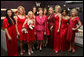 Mrs. Laura Bush joins celebrity models participating in the Red Dress Collection Celebrity Fashion Show Friday, Feb. 2, 2007, during Fashion Week in New York to raise awareness of heart disease and the importance of heart health for women. Standing with Mrs. Bush are, from left: Danica Patrick, Mary Hart, Kristin Chenoweth, Camilla Belle, Natalie Morales, Jane Krakowski, Paula Zahn, Angela Bassett and Kelly Ripa. White House photo by Shealah Craighead