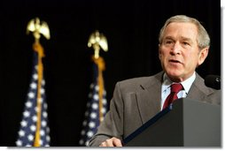 President George W. Bush addresses an audience Saturday, Feb. 3, 2007, at the House Democratic Caucus Issues Conference in Williamsburg, Va. White House photo by Shealah Craighead