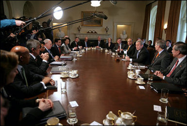 President George W. Bush talks with the media during a Cabinet meeting in the Cabinet Room Monday, Feb. 5, 2007. 'I appreciate my Cabinet joining me today as we discussed our budget,' said the President. 'Today we submit a budget to the United States Congress that shows we can balance the budget in five years without raising taxes.' White House photo by David Bohrer