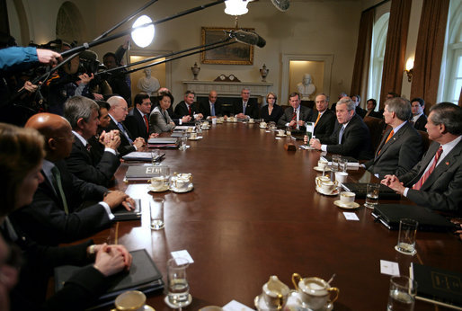 Delightful President George W. Bush Talks With The Media During A Cabinet Meeting In The  Cabinet