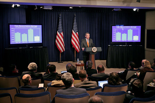 Director Rob Portman of the Office of Management and Budget presents the budget of the U.S. government for the 2008 fiscal year to the press in the Dwight D. Eisenhower Executive Office Building Monday, Feb. 5, 2007. White House photo by Paul Morse