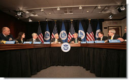 President George W. Bush joins Homeland Security Secretary Michael Chertoff, left, during a briefing Thursday, Feb. 8, 2007 at the Department of Homeland Security in Washington, D.C., on the status of DHS's priorities, especially those relating to the War on Terror. White House photo by Paul Morse