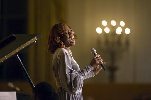 Singer Yolanda Adams performs at a reception for the Ford's Theatre Abraham Lincoln Bicentennial Celebration in the East Room Sunday, Feb. 11, 2007. White House photo by Paul Morse