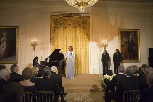 Singer Yolanda Adams performs during a reception honoring the Ford's Theatre Abraham Lincoln Bicentennial Celebration Sunday, Feb. 11, 2007, in the East Room. White House photo by Paul Morse